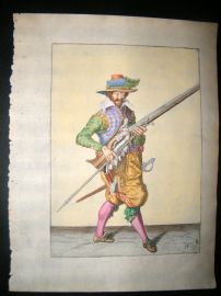 Jacob de Gheyn 1608 Fine Hand Coloured Musketeer Print 13